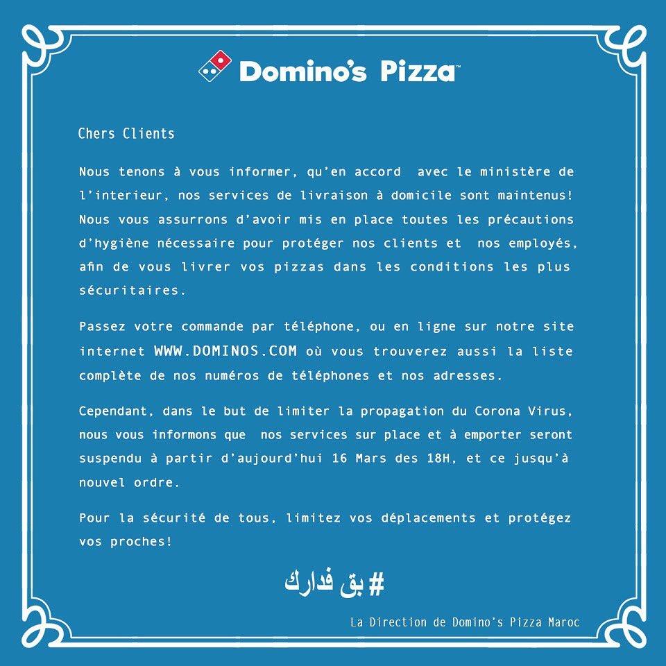 Domino's Pizza Maroc Stay safe
